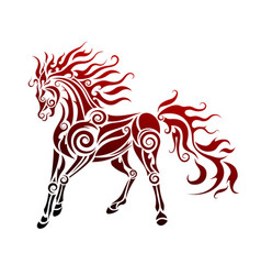 flaming horse vector image