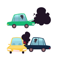 flat cartoon car crash accident set vector image