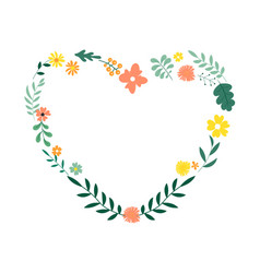 floral decorative heart from leaves and flowers vector image