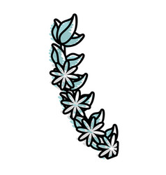 Flower branch decoration romantic vector
