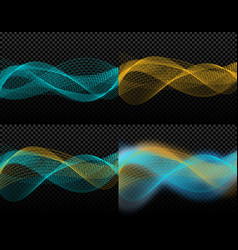 four card light effects abstract discrete waves vector image