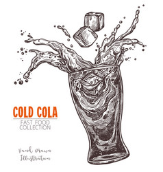 glass with splashed cola and ice cube hand drawn vector image