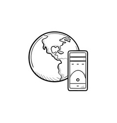 globe and server hand drawn outline doodle icon vector image