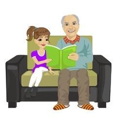 Grandfather and granddaughter sitting reading book vector