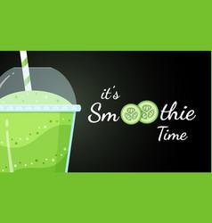 Green smoothie cucumber logo flat vector