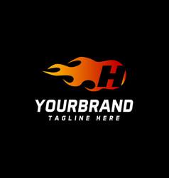 h letter flame logo design fire logo lettering vector image