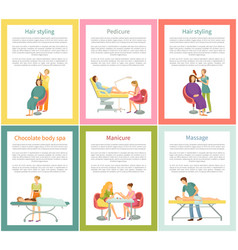 Hair styling and pedicure nail care posters vector