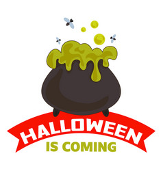 halloween is coming logo cartoon style vector image