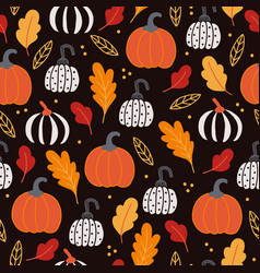 halloween seamless pattern with colored pumpkins vector image