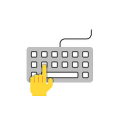Hand typing on keyboard flat vector