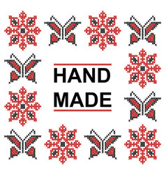 Handmade cross stitch pattern with elements of vector