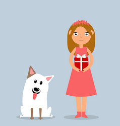 Happy little girl and dog at christmas vector