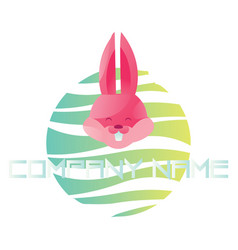happy pink rabbit head on colorful bubble logo on vector image