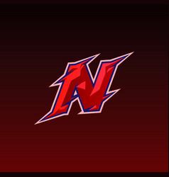 Initial n gaming esport logo design template vector
