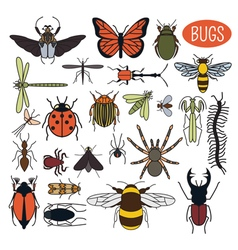 Insects icon flat style 24 pieces in set Colour vector image