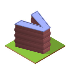 Isometric building letter v form vector