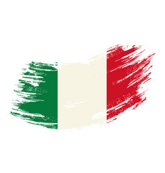 italian flag grunge brush background vector image