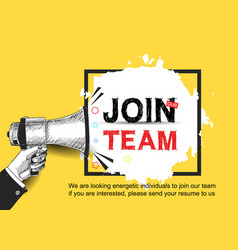 Join our team concept design with hand holding vector