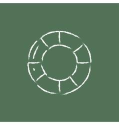 Lifebuoy icon drawn in chalk vector image