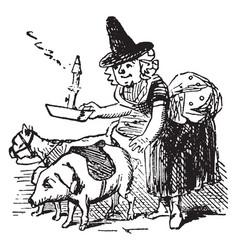 little maid vintage vector image