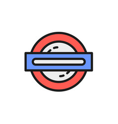 london underground metro train flat color line vector image
