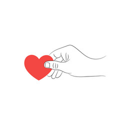 male hand with a red heart on a white background vector image