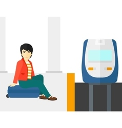Man sitting on railway platform vector image