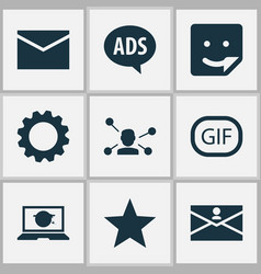 Media icons set with gif sticker laptop chat and vector