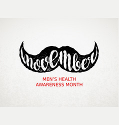 Movember mens health awareness month vector