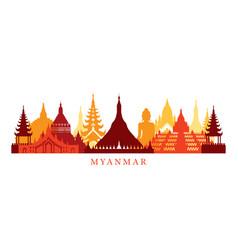 Myanmar architecture landmarks skyline shape vector