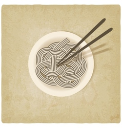 noodles on plate old background vector image