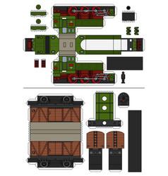 Paper model a vintage train vector