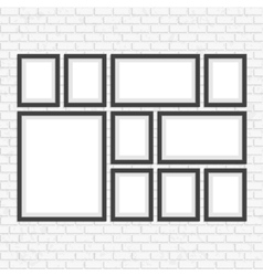 Picture frame set on brick wall vector