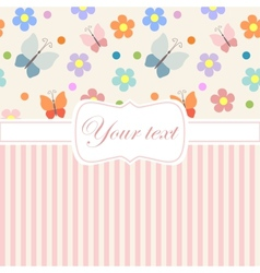 Pink card invitation with flowers and stripes vector