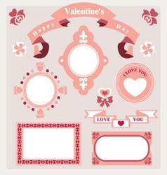 Pink love set ornament vector