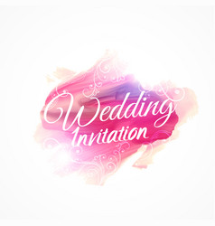 Pink watercolor paint stroke for wedding vector