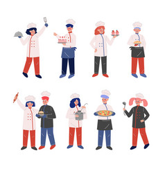 professional chef characters collection vector image