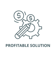 Profitable solution line icon linear vector