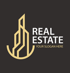 real estate simple logo design vector image