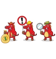 Red Wild Pig Mascot with money vector image