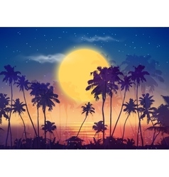 Retro style full moon sky with palm silhouettes vector image