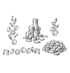 set of coins in different positions in sketch vector image