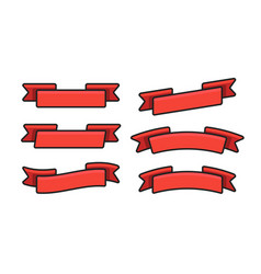 set red isolated banner ribbons on white vector image