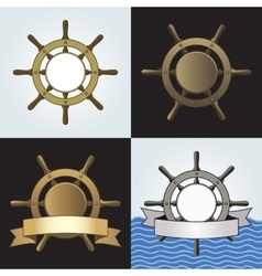 Ship Helm Backgrounds Set vector