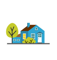 small cartoon blue house with trees isolated vector image