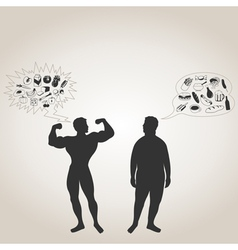 sportsman and fat man vector image