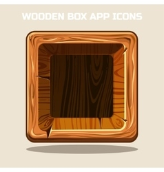 square Wooden box app icons vector image