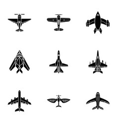 steel bird icons set simple style vector image
