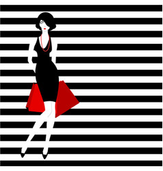 stripped background fashion girl vector image