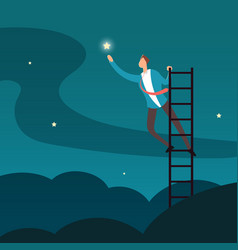 Successful businessman reaching star man climbing vector